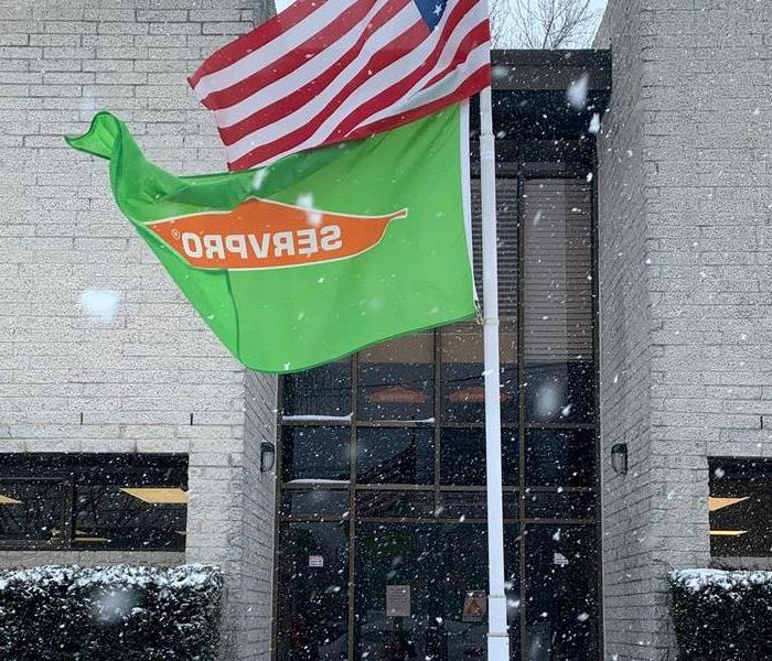 SERVPRO Flag Flying With American Flag